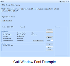 Call Window with Large Introductory Font